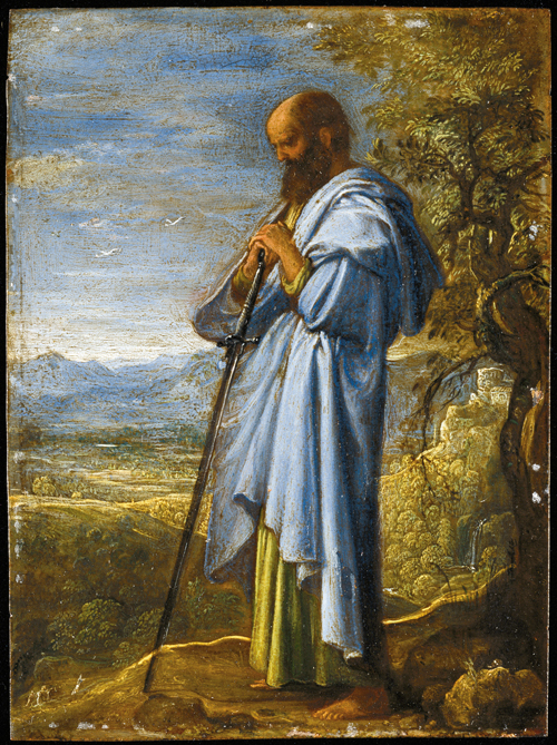 Adam Elsheimer (1578-1610). <em>Saints &amp; Figures from the Old and New Testament: Saint Paul</em>. Oil on silvered copper, 8 x 7 cm &copy; Petworth House, The Egremont Collection (The National Trust).<br>
