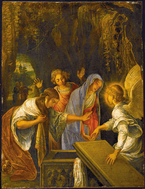Adam Eslheimer (1578-1610). <em>The Three Marys at the Tomb</em>. Oil on copper, 25.8 x 20 cm &copy; Rheinisches Landesmuseum, Bonn.<br>