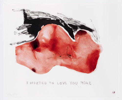 Louise Bourgeois and Tracey Emin. <em>I wanted to love you more,</em> 2009–2010. Archival dyes printed on cloth, 76.2 x 61  cm (30 x 24 in). Printed by Dye-namix, New York. © Louise Bourgeois Trust and Tracey Emin. Courtesy Carolina Nitsch Contemporary Art and Hauser & Wirth.