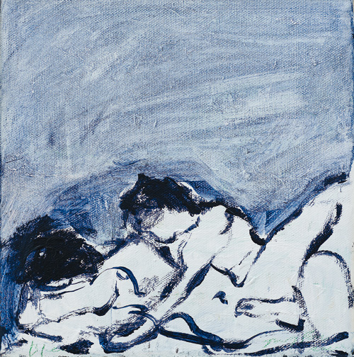 Tracey Emin. Before, 2013. Acrylic on canvas, 20.5 × 20.5 cm. Courtesy the artist and Lehmann Maupin, New York and Hong Kong.