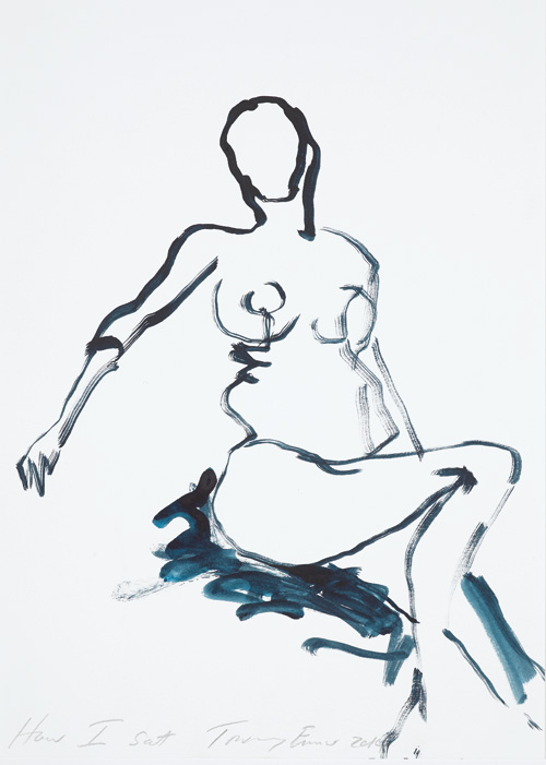 Tracey Emin. How I sat, 2014. Gouache on paper, 35.4 × 25.3 cm. Private collection, London. © Bildrecht, Vienna 2015.