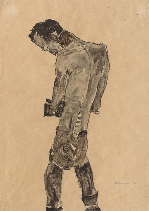 Egon Schiele. Standing Male Nude, 1910. Gouache and charcoal on paper,  44.8 × 31.7 cm. Leopold, Private collection.