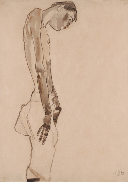Egon Schiele. Standing Youth, Head Inclined, 1910. Watercolour and pencil on paper, 45.6 × 32 cm. Leopold, Private collection.