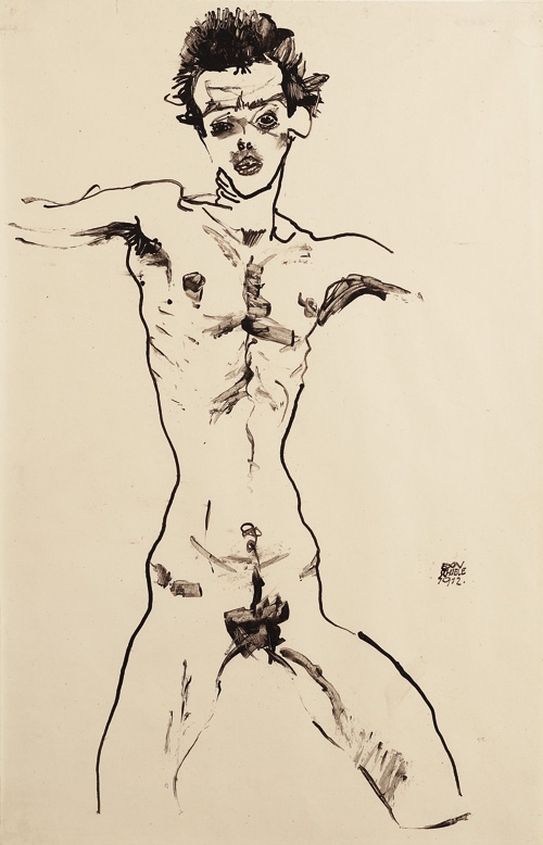 Egon Schiele. Nude Self-Portrait (study for the Sema portfolio), 1912. India ink and brush on paper, 46 × 29.1 cm. 