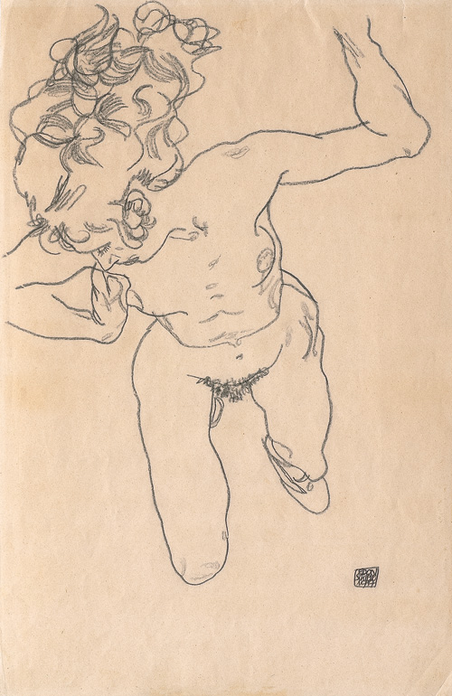 Egon Schiele. Laying (Falling) Woman with Long Hair, 1917. Charcoal on paper, 45.7 × 29.5 cm. Leopold, Private Collection.