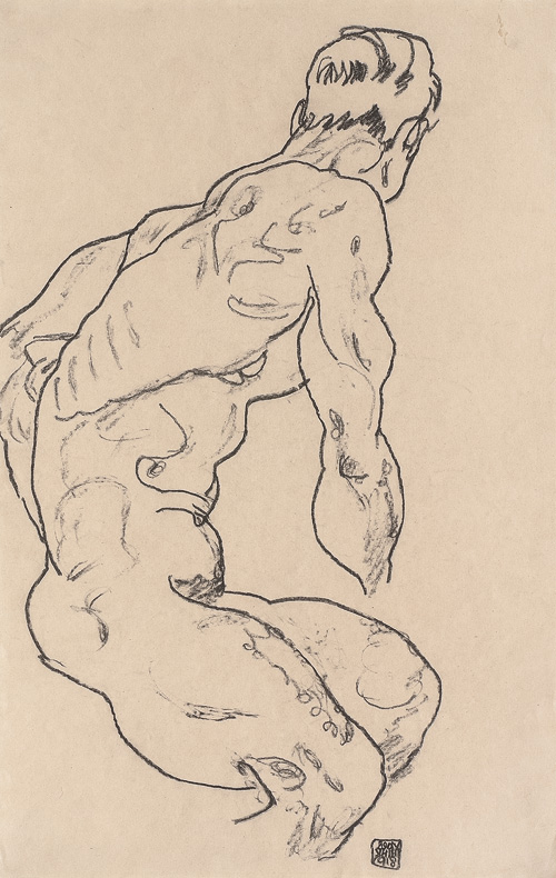 Egon Schiele. Sitting Nude Men turned to the right, 1918. Black crayon on paper, 46.1 × 29.4 cm. Leopold, Private collection.