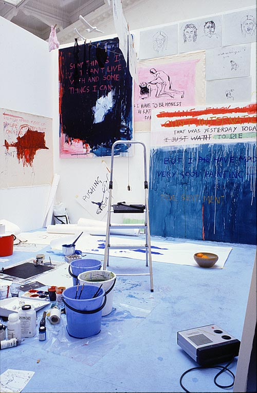 Tracey Emin. Exorcism of the last painting I ever made, 1996. Performance at Galleri Andreas Brändström, Stockholm 1996. Dimensions of room 390 x 430. Saatchi Gallery, London. © The Artist