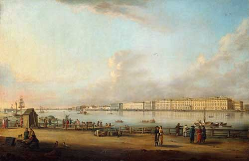 View of the Palace Embankment, St Petersburg, from Yasilyevsky Island. By Johann Georg De Meyr (1760-1816). German, signed and dated 1796. Oil on canvas.