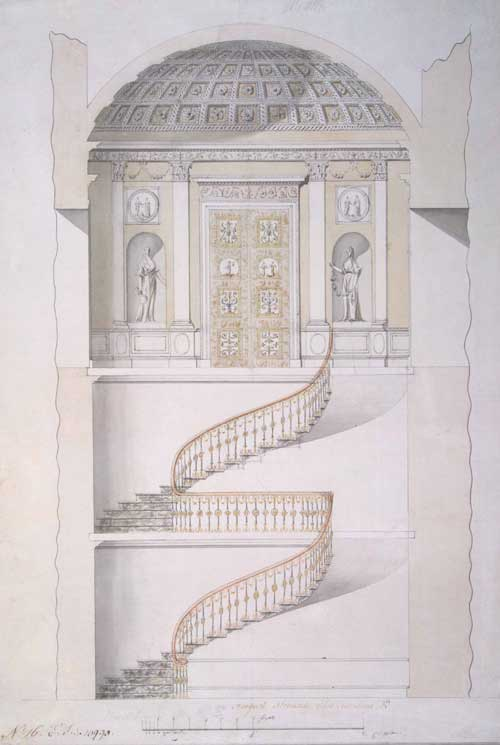 Cross-section of the staircase in the Agate Pavilion at Tsarskoye Selo. By Charles Cameron (c1743-c1812), Scottish, c1780. Pen and ink with wash and watercolour on paper.