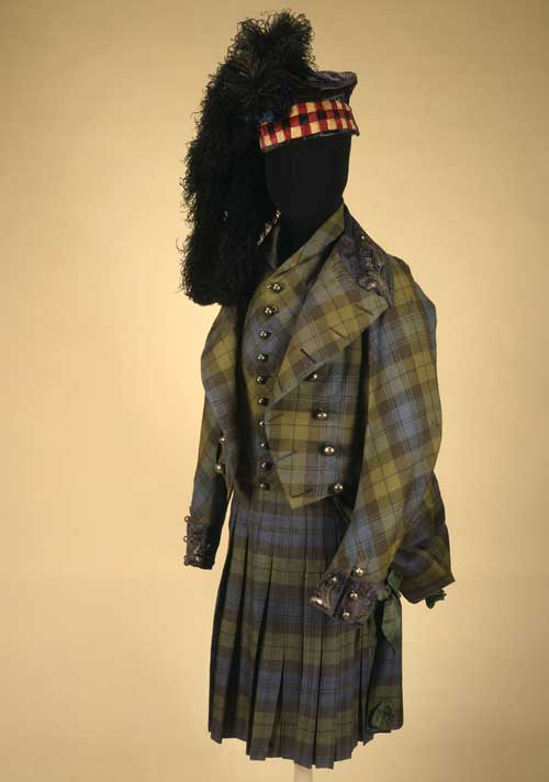 Highland Dress. Highland costume, sword, belt pistol, dirk with utensils and snuff set. Made or supplied by George Hunter, Edinburgh. Scottish, c1814-16. Wool, silk, ostrich feathers, steel, gold, silver, copper, bronze, quartz, agate, citrine, amethyst, hessonite, heliodor, ivory, horn, leather, velvet and wood.