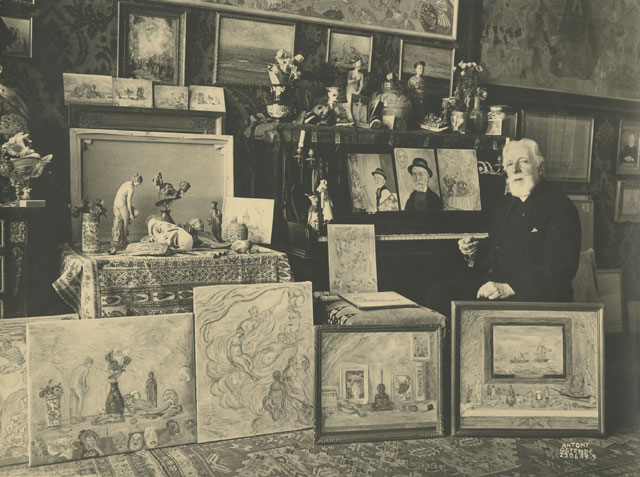 Maurice Antony. James Ensor surrounded by his paintings, 22 June 1937. Mu.ZEE, Ostend. Photograph © www.lukasweb.be - Art in Flanders vzw / © DACS, 2016.