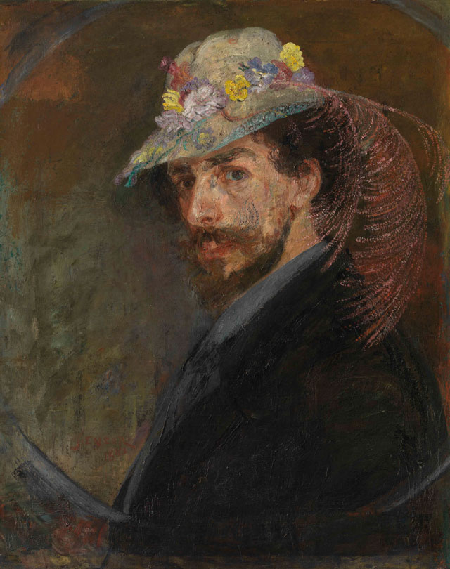 James Ensor. Self-portrait with Flowered Hat, 1883. Oil on canvas, 76.5 x 61.5 cm. Mu.ZEE, Oostende. Photograph: MuZee © www.lukasweb.be - Art in Flanders vzw. Photograph: Hugo Maertens / © DACS 2016.