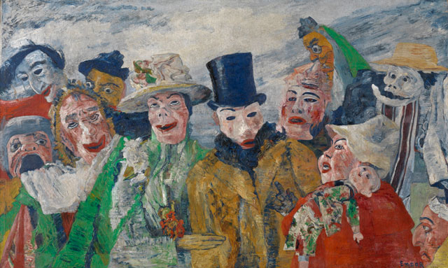 James Ensor. The Intrigue, 1890. Oil on canvas, 90 x 149 cm. Antwerp, Koninklijk Museum voor Schone Kunsten. Photograph: KMSKA © www.lukasweb.be - Art in Flanders vzw. Photograph: Hugo Maertens / © DACS 2016.