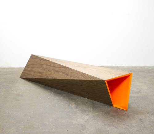 Rana Begum. No. 565 Bench, 2014. Paint on walnut veneer on MDF, 17.1 x 86.6 x 19.7 in (45 x 220 x 50 cm). Courtesy the artist and Jhaveri Contemporary.