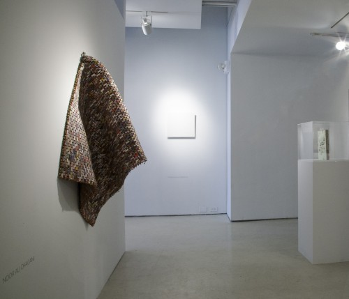 Noor Ali Chagani. Hanging Rug (re-used bricks) [installation view], 2014. Miniature terracotta bricks, metal wires, 43 x 29 x 0.5 in (109.2 x 73.7 x 1.3 cm). Courtesy of the artist and White Turban Art Consultancy.