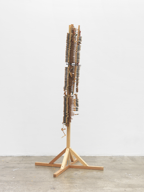 Tamar Ettun. Vertical Piano, 2014. Wood, metal, 74 x 39 x 39 in.
