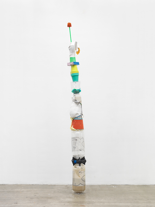 Tamar Ettun. Totem with a Green Brush, 2015. Mixed media, 120 x 11 x 11 in.