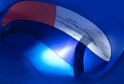 Tamar Ettun. Blue Bubble, 2015. Parachute nylon fabric, industrial fan, velcro, 240 x 180 x 60 in.