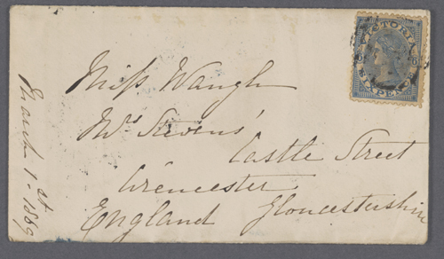 Unknown. Envelope from Victoria to UK, 1st March 1869–69. 6.8 x 12.1 cm (envelope). Private collection, Victoria.
