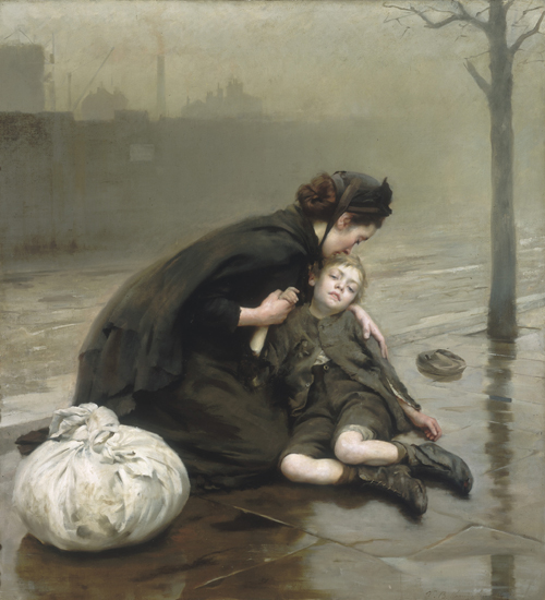 Thomas Bush Kennington (England 1856–1916). <em>Homeless</em> 1890. Oil on canvas, 166.6 x 151.7 cm. Bendigo Art Gallery, Victoria. Purchased, 1906.