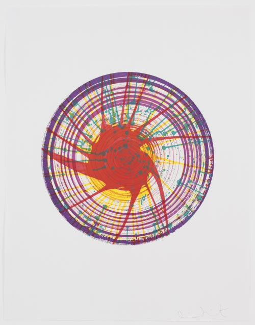 Damien Hirst (British, born 1965). <em>Round from In a Spin, the Action of the World on Things, Volume I</em>, 2002. One from a portfolio of 23 etching, aquatint, and drypoints. Sheet: 35 7/8 x 27 in (91.2 x 69.9 cm). Publisher: The Paragon Press, London. Printer: Hope (Sufferance) Press, London. Edition: 68. The Museum of Modern Art, New York. The Associates Fund, 2003 &copy; 2006 Damien Hirst.