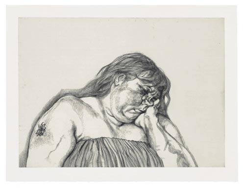 Lucian Freud (British, born Germany, 1922). <em>Woman with an Arm Tattoo</em>, 1996. Etching. Sheet: 27 9/16 x 36 1/8 in (70 x 91.7 cm). Publisher: Matthew Marks Gallery, New York. Printer: Studio Prints, London. Edition: 40. The Museum of Modern Art, New York. Jacqueline Brody Fund, Scott Sassa Fund, and Roxanne H. Frank Fund, 2002. &copy; 2006 Lucian Freud.