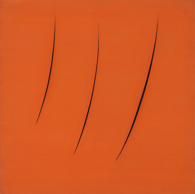 Lucio Fontana, Spatial Concept, Expectation, 1959. Oil on canvas with slashes, 90.8 x 90.8 cm. Olnick Spanu Collection, New York. © Fondazione Lucio Fontana, Bilbao, 2019.