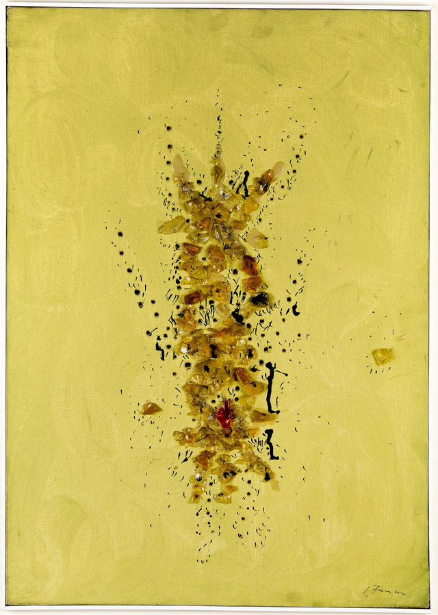 Lucio Fontana, Spatial Concept, 1954. Oil, ink and glass on canvas. 70 x 49.5 cm. Private Collection, Italy. © Fondazione Lucio Fontana, Bilbao, 2019.