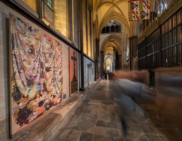 The Miracle of Birth by Stephen Farthing RA. Installation view, Salisbury Cathedral. Photo: Ash Mills.
