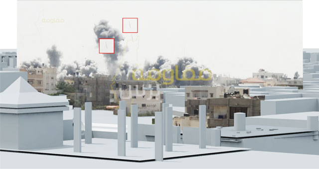 The Bombing of Rafah, Gaza, Palestine, 1 August 2014. Video still showing two bombs in mid-air fractions of a second before impact in the Al Tannur neighbourhood in Rafah, Gaza on 1 August 2014. Image: Forensic Architecture, 2015.