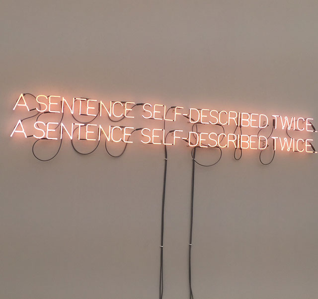 Joseph Kosuth. Self-Described Twice, 1966, installation view. Photograph: Jill Spalding.