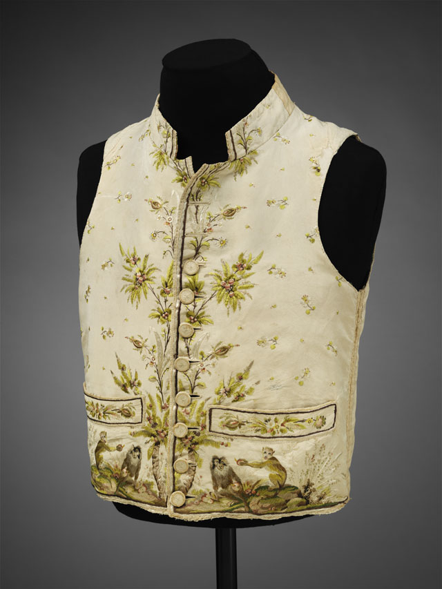 Man's silk waistcoat embroidered in silk with a pattern of macaque monkeys, 1780-89. © Victoria and Albert Museum, London.