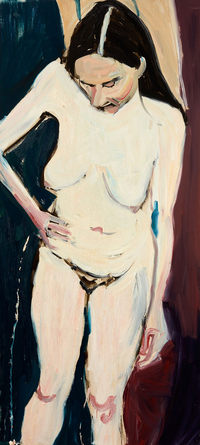 Chantal Joffe. Self-Portrait with Hand on Hip, 2016. Oil on board, 201.6 x 90 x 6 cm. © Chantal Joffe, courtesy the artist and Victoria Miro, London.