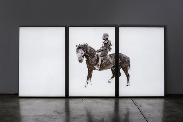 Patrick Bernatchez. À la recherche du jour d'après, 2012. (Exhibition view at Diaz Contemporary/Toronto). Inkjet print on translucent plastic film, three light boxes, 182.8 x 365.8 cm (182.8 x 121.9 cm each light box). Photograph: Toni Hafkenscheid.