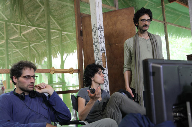 Matteo Norzi, Leonor Caraballo and Abou Farman on the set of Icaros – A Vision. Photograph: Conibo Productions.
