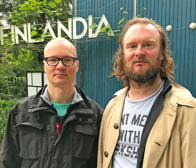 Nathaniel Mellors and Erkka Nissinen's talk to Studio International about their film The Aalto Natives for the Pavilion of Finland, Venice 2017. Photograph: Martin Kennedy.