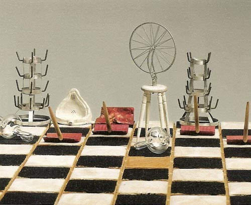 Charles Juhász-Alvarado, <em>Duchamp in check (detail),</em> 1995. Wood, metal and glass, 15.5 x 43 x 43 cm. Daros-Latinamerica Collection, Switzerland.