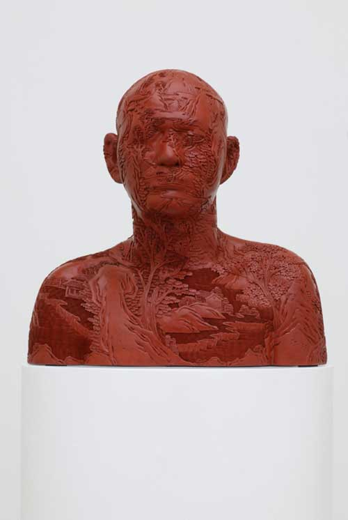 Ah Xian, <i>Human Human – Landscape. Carved Lacquer Bust 5</i>, 
