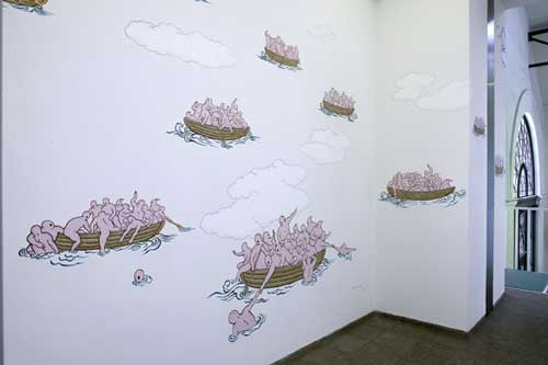 Guan Wei, <i>A Passage to Australia</i> 2003 (in situ). Acrylic                paint, dimensions variable. Commissioned by Nationalgalerie im Hamburger                Bahnhof, Museum for the Present - Berlin. Courtesy the artist and                Sherman Galleries, Sydney. Photo: Jens Ziehe<br>               <br>