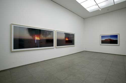 Rosemary Laing, <i>burning Ayer</i> 2003. Series of 4 C-prints, 