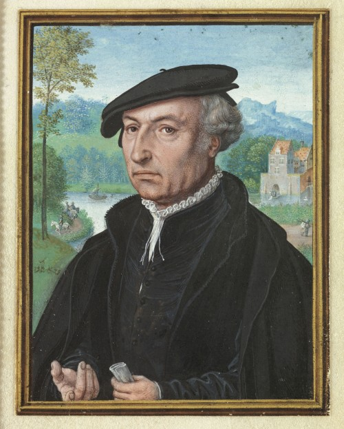 Simon Bening. Self portrait aged 75, 1558. Watercolour on vellum laid down on card. Victoria and Albert Museum, London.