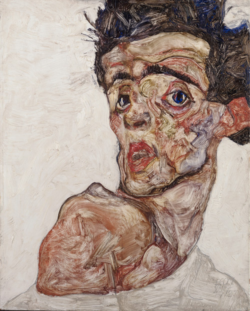 Egon Schiele. Self Portrait with Raised Bared Shoulder, 1912. Oil on wood, 42.2 x 33.9 cm. © Leopold Museum Private Foundation, Vienna.