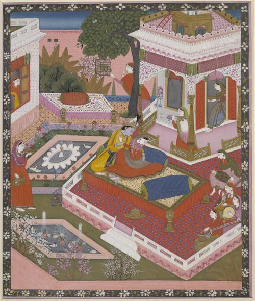 Radha and Krishna in a garden, Pahari style, Kongra style, 1840. Painted in paper. Bequeathed by Ms GM Coles.