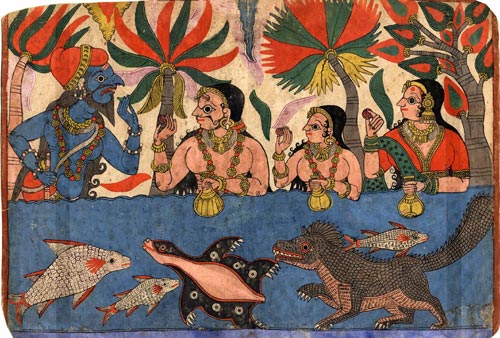 King Harischchandra and his family bathe in the river Ganges, Paithan style, Karnatka Andhra Pradesh border, late 19th-early 20th century. Given by Professor AL Dallapiccola.