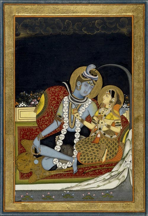 Shiva and Parvati seated on a terrace, Jaipur, Rajasthan, c 1800. Edward Moor Collection, given by Mrs AG Moor.