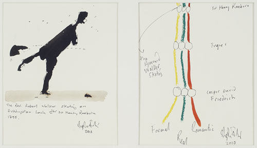 Stephen Farthing. The Drawn History of Painting: Raeburn, 2010. Ink and crayon on paper. Courtesy of the artist.