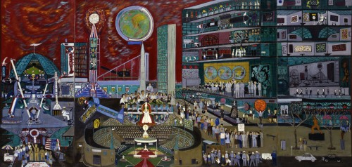 Ralph Fasanella. Modern Times, 1966. Oil on canvas, 49 ¾ x 104 in. Smithsonian American Art Museum. Gift of Maurice and Margo Cohen, Birmingham, MI.