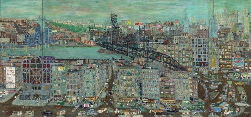 Ralph Fasanella. New York City, 1957. Oil on canvas. 50 x 110 in. Collection of Nicholas and Shelley Schorsch. Image courtesy Estate of Ralph Fasanella.