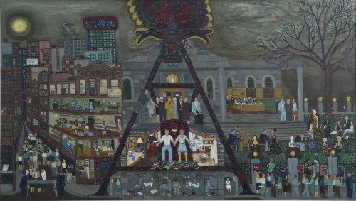 Ralph Fasanella. The Rosenbergs: Grey Day, 1963. Oil on canvas, 42 x 72 in. Andrew Edlin Gallery, New York, and the Estate of Ralph Fasanella.