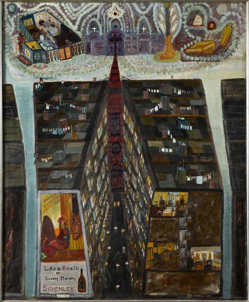 Ralph Fasanella. Pie in the Sky, 1947. Oil on canvas, 46 x 38 in. Collection American Folk Art Museum, New York. Gift of Eva Fasanella and her children, Gina Mostrando and Marc Fasanella, 2005.5.4. Photograph: Gavin Ashworth.